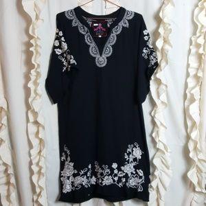 Johnny Was embroidered floral black dress